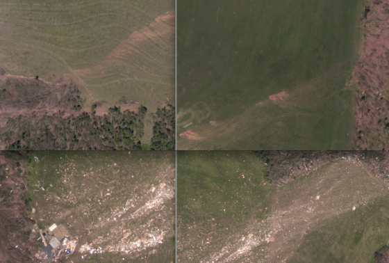 "Images that show how complicated official analysis can be. The top two images show pocks of extreme ground scouring caused by the Cordova tornado, which was officially given an EF4 rating. At bottom, two images of extreme damage and wind rowing following the destruction of a large, two-story home in Arab. Both tornadoes likely reached EF5 intensity at some point in their lives, but few such tornadoes are ever at peak intensity in the vicinity of homes of ""superior"" construction."