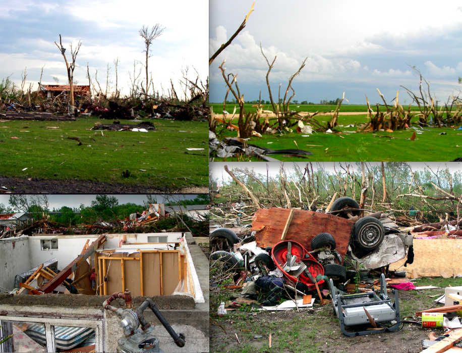 Views of F5 Damage from the Elie, Manitoba Tornado