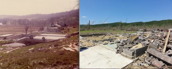 At left, the remains of a home that was swept away near Sayler Park. Vegetation damage is not congruent with a contemporary EF5 rating. At right, the remains of a large, brick home that was obliterated in Shoal Creek, Mississippi in 2011.