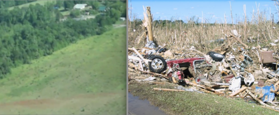 At left, a narrow strip of deep ground scouring west of Smithville, where the tornado entered a period of explosive intensification (Image by Mel Webster). At right, the tornado left some of the most extreme tree damage ever photographed.