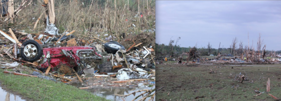 At left, mangled vehicles and debris from destroyed homes was left strewn among debarked trees at the edge of town. At right, grass scouring and high velocity impact marks, both indications of extreme intensity. (Images by Christi Welch)