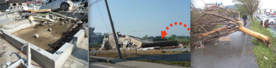 At left, the Tsukuba tornado swept a small home completely away. At center, the mat foundation of a destroyed home was uprooted from the ground by the tornado's powerful updraft. At right, a tree was debarked - a damage feature rarely seen outside the United States.