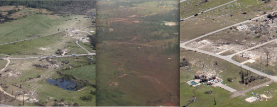 Three views of extreme tornado damage from the 2011 season (intensity increasing from left to right). At left, the Phil Campbell tornado left a streak of damaged grass and empty foundations near Cornelius Drive. At center, pronounced grass scouring following the El Reno tornado near Oklahoma City. At right, extreme vegetation scouring and home damage from the Smithville tornado. Had all three tornadoes caused comparable damage, the El Reno tornado would have been ranked the lowest due to its modest forward speed.