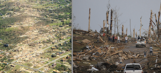 The Birmingham suburbs of Concord and Pleasant Grove both experienced borderline EF5 damage. Well-constructed homes were swept completely away and groves of large hardwood trees were almost completely debarked.