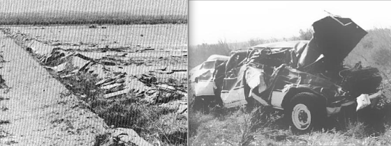 At left, image of a drainage culvert that was scoured of concrete. At right, one of the vehicles in which a fatality occurred.
