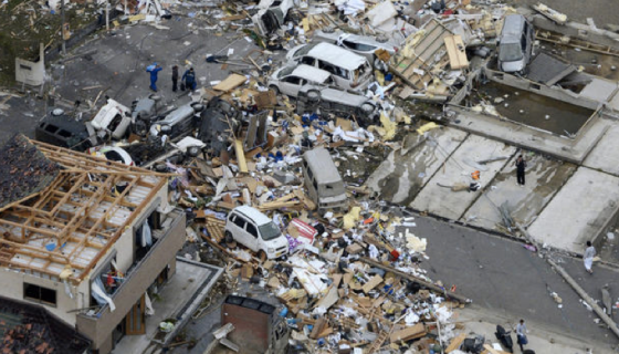 At center right, view of a home that was swept completely away. The Tsukuba tornado