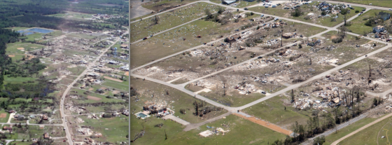 The Smithville tornado left a narrow streak of extreme damage as it sliced through town at 70mph. Grass was scoured from the ground and large, two story brick homes of excellent construction were swept cleanly away. The EF5 damage was clearly defined within a narrow corridor, but moderate to light damage occurred across most of the town.