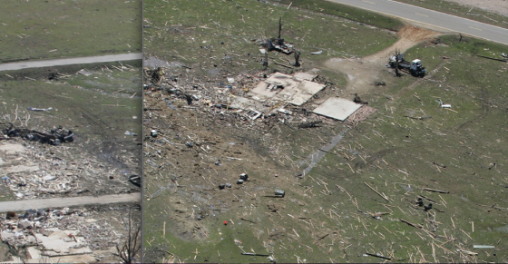 Two views of EF5 home damage and grass scouring. At left, two well-constructed homes were swept completely away on Monroe Street, leading to three fatalities. At right, the remains of a brick home west of town. (Images by Thomas Wells)