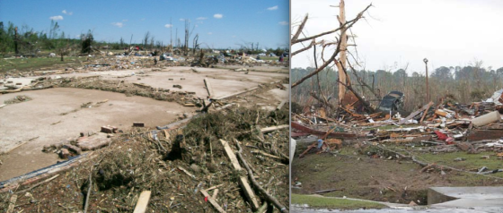 At right, the remains of a well-constructed brick home that was swept away along Highway 237. Plumbing fixtures were ripped from the concrete foundation, and adjacent vegetation was stripped bare and nearly ripped from the ground. At right, large trees were stripped of all bark and branches as the tornado entered a forested area near Cemetery Drive.