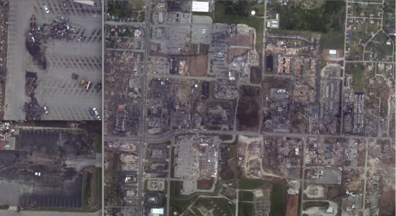 The tornado may have reached a secondary wind maxima as it crossed Rangeline Road. A large swath of wind damaged grass marked the path of the tornado's inner core. At top left, view of scoured pavement in the Walmart parking lot. At bottom left, view of scoured pavement in the parking lot of Pizza by the Stout, which was located just west of Home Depot.