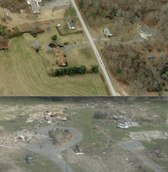Before and after views of the devastated