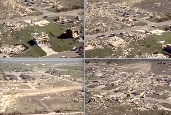 Several views of F5 damage in the vicinity of Chapel Drive, where large two-story homes were swept completely away.[
