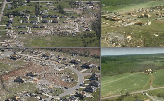 The tornado weakened after causing additional EF5 damage near the community of Mount Hope. After skirting past the city of Decatur and crossing Wheeler Lake, the tornado re-intensified and left a trail of possible EF5 damage in the town of Tanner. Large two and three bedroom homes were obliterated in one neighborhood, some of which were swept completely away. Four deaths occurred in the area, including one in a vehicle on the US 31. The tornado continued causing EF4 damage in Madison County, where eight fatalities occurred, before crossing into Tennessee and dissipating.