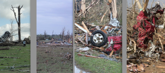 Various images of tornado damage, with relative intensity increasing from left to right. At left, the 2011 Phil Campbell tornado left most trees partially debarked and stripped of branches. The ground also shows high velocity impact marks but no obvious scouring of grass (Image by John Phillips). At center left, impact marks and partial ground scouring in after the 2011 Smithville tornado. At center right, the near complete debarking of all foliage in Smithville (Images by C. Welch). At right, completely obliterated vegetation and severe ground scouring following the 2011 El Reno tornado. (Image by Jim LaDue).