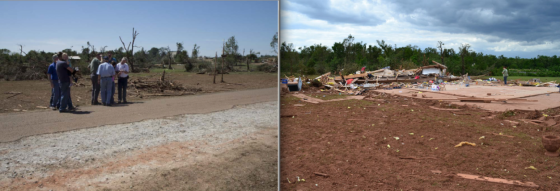 On the same day as the El Reno tornado, two other tornadoes were likely capable of causing EF5 damage. One tornado in Chickasha scoured grass from the ground, swept away atleast one well-built home and ripped pavement from roads (at left). Nearby, a tornado in Goldsby left several large homes as bare foundations and caused pronounced grass scouring (at right).
