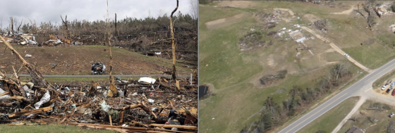 At left, extreme vegetation damage and possible ground scouring along a hillside on Pinion Drive in Phil Campbell. At right, a storm cellar 200 yards to the southwest of the left image appears to have lost its ground-level roof in the storm (Image by HGTV). The Hackleburg/Phil Campbell tornado caused some of the most violent wind damage ever documented.