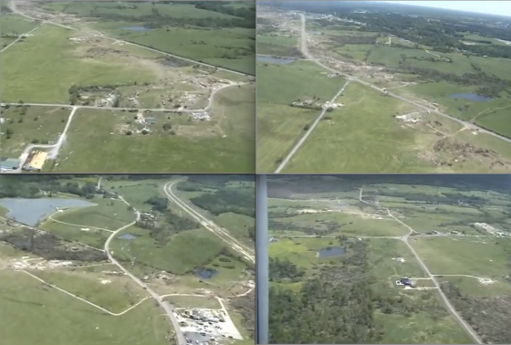 Aerial images of the tornado's path through. At top, two images of the EF5 damage streak as it entered Hackleburg. At bottom left, the tornado's path through Cornelius Drive, less than a mile east of Phil Campbell. At bottom right, the path through Oak Grove. Vegetation scouring indicates the tornado may have been at maximum intensity outside of Oak Grove. (Video stills from paulleah)
