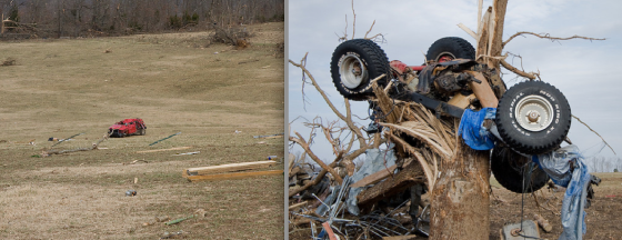 During the 2008 Super Tuesday outbreak, one of the longest tracked tornadoes in history ripped through primarily rural forestland in central Arkansas. Near the small community of Zion, the tornado hurled a Hummer a quarter mile from an obliterated residence. Another vehicle in the same area was mangled beyond recognition and wrapped around a denuded tree. The tornado does not appear on the