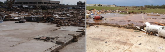 Two views of EF5 home damage in Moore. Both residences were determined to have been well-constructed.