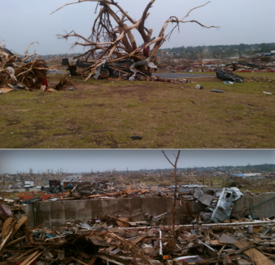 At top, a mangled car was hurled into an empty basement. At bottom, a debarked tree with the frame of a disintegrated vehicle wrapped around it. Partial grass scouring is visible in the foreground. (Images by Dan Michaels)
