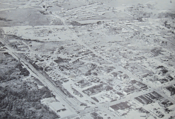 Aerial view of the damage swath in Guin. (Image used by C. F. Boone)