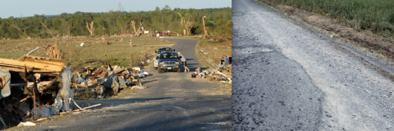 At left, view of debarked trees and severe vegetation damage northeast of Rainsville. (Image by Mark Almond) At right, a road scoured of grass near Sylvania. (Image by Melissa Smith)