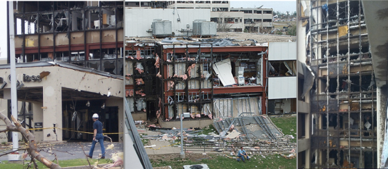 St. Johns Hospital was impacted by EF4 winds as the Joplin tornado reached EF5 intensity only a 100 yards north of the main tower.  (Images courtesy of Mercy Health)