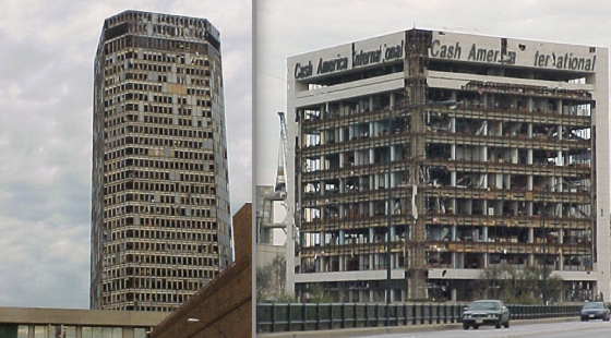 At left, damage to the Bank One Building in downtown Fort Worth. At right, the devastated Cash America Building, which was struck by the tornado while at peak intensity.