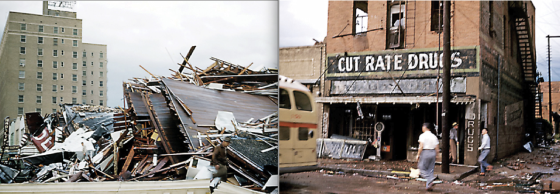 High school student David Reagan took color photographs of the tornado damage in downtown Waco following the devastating tornado of 1953. At left, the remains of a collapsed building on the 400 block of Austin Avenue, where more than half the fatalities occurred. (