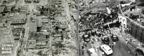 At left, aerial view of the damage in downtown Waco. The 22-story ALICO (far left) was only a hundred yards from the devastated R. T. Dennis Building (Image from The Texas Collection). At right, view of the devastation on 5th Street.