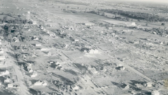 View of the tornado's narrow swath of devastation through Beecher. Some of the destroyed residences were large, two-story homes.