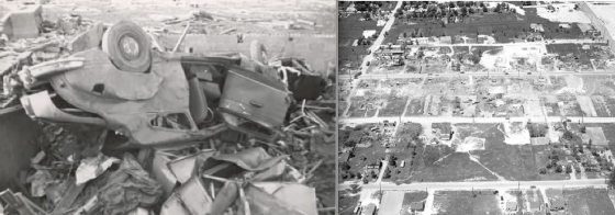 The Beecher tornado left a narrow swath of extreme damage along Coldwater Road. At left, a vehicle that was left in the basement of a home that was obliterated. At right, the swath of F5 damage around the local high school, where grass was ripped from the ground (Flint Public Library)