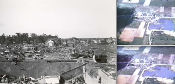 Unlike the Waco, Texas tornado a few weeks earlier, the Beecher tornado left damage indicative of EF5 intensity. Aerial footage captured pronounced ground scouring in rural areas outside town. (Flint Public Library / Right video stills by ken Kelley)