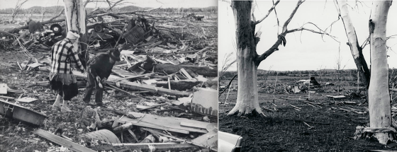 Damage photographs are the most important tool in ascertaining the strength of historical tornadoes. Shown above is probable EF5 damage near the small town of Colfax, Wisconsin after a powerful tornado ripped through the area in 1958. Trees of all sizes were debarked, ground vegetation was shredded and vehicles were rendered unrecognizable (Image courtesy of the University of Wisconsin Digital Collections).