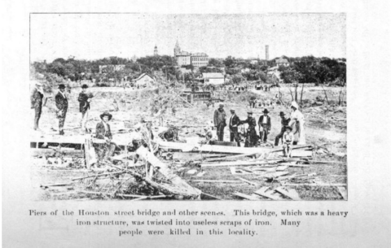 One of the few damage photographs available showing the aftermath of the Sherman tornado.