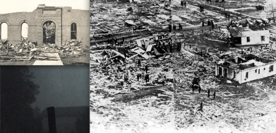 At top left, the De Soto school were 33 students were killed. At bottom left, survivor descriptions from Murphysboro indicate the tornado was preceded by heavy rain and hail which blackened the sky, much like the 2011 Joplin tornado (pictured). At right, damage in West Frankfurt.
