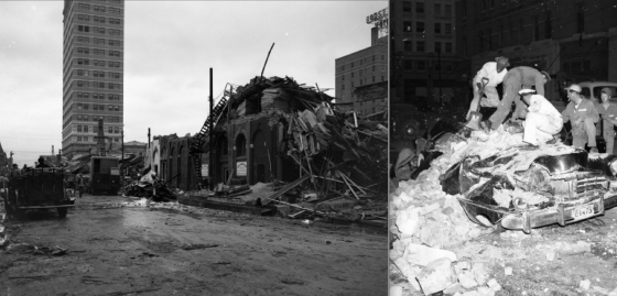 Additional views of the damage. At left, the 22-story ALICO Building is visible just beyond the worst damage. At right, workers pulling a body from a car that was crushed by debris. (Images courtesy of the Austin History Center)