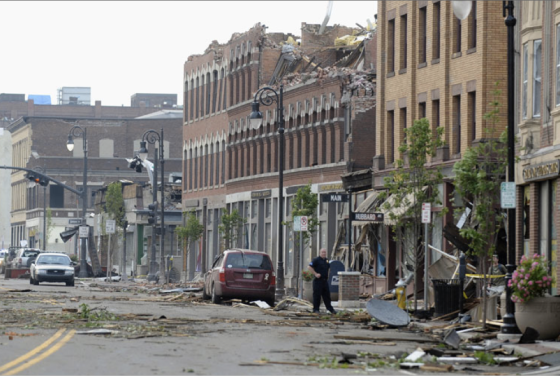 The tornado slowly intensified as it ripped through a historic section of downtown Springfield. (Image from AP).
