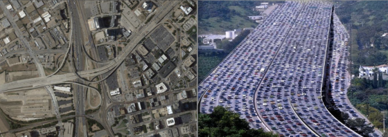The Dallas/Fort Worth metropolitan area has some of the most congested freeways in the United States, such as the Woodall Rodgers overpass (pictured at left). Peak traffic flow generally occurs between 4 and 6pm, which coincides with violent tornadic activity. Considering the vehicle fatality rate in EF5 tornadoes, a single badly placed storm could cause thousands of deaths, particularly if a rain-wrapped storm were to follow a freeway corridor.