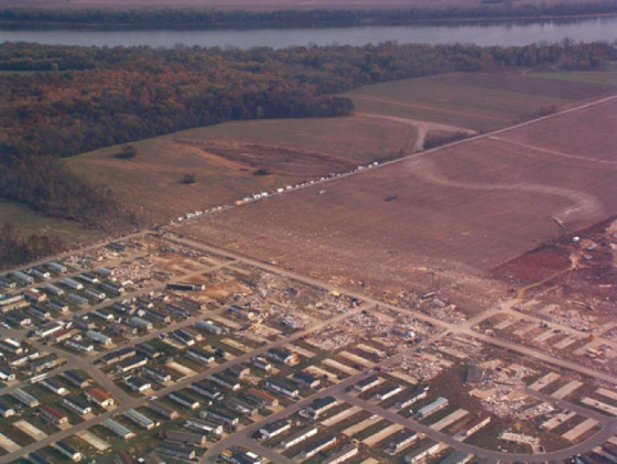 In November of 2005, a fast moving nighttime tornado touched down near Evasnville, Indiana. Around 2am, the tornado struck the Eastbrook Mobile Home Park while residents were asleep. In the park alone, 20 people were killed as mobile homes were swept completely away along the southern edge of the park.