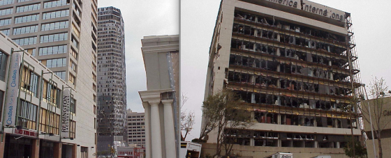 Additional views of the Bank One and Cash America building. Due to ground friction, tornadic winds increase dramatically with height. Tree and vehicle damage at street level was generally minor.