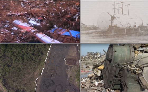 Several EF5 tornadoes have thrown industrial equipment weighing in excess of 15,000 lbs long distances. At top left, the 2011 El Reno tornado hurled an oil tanker weighing approximately 25,000 lbs a mile without leaving any noticeable ground impacts. At top right, the 1970 Lubbock tornado tossed a 26,000 lb fertilizer tank 3/4 of a mile over a freeway and several undamaged fences. At bottom left, the 2011 Tuscaloosa tornado hurled a train car weighing 71,600lbs 130 yards in one throw, according to witnesses. At bottom right, the 1995 Pampa tornado lifted a 35,000 lb lathe.
