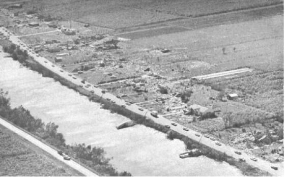 In 1964, Hurricane Hilda made landfall in Louisiana as a weakening category 3 storm. Before the hurricane's eye reached the coast, a violent tornado was spawned in the swampland 30 miles south of New Orleans. The F4 tornado travelled westward over a narrow strip of homes and buildings that lined a waterway, killing 22 residents.