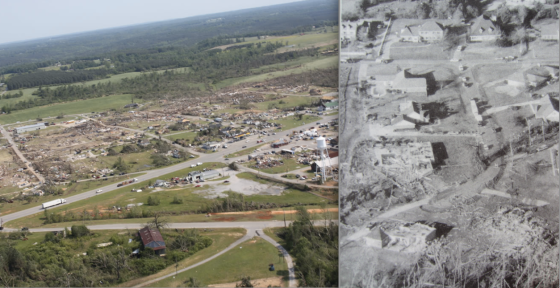 The longest tracked tornadoes generally occur in the South in the spring and fall. At left, one of the longest tracked tornadoes in history caused EF5 damage in Hackleburg. At right, an power tornado probably capable of causing F5 damage killed four people in the obliterated home at bottom. One of the bodies was found in a tree a quarter mile from the foundation (Grazulis, 1995).