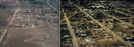Aerial views of the intense damage streaks in northern Lubbock. At right, view of destroyed homes on Cypress Road, where three fatalities occurred. At left, damage in the Guadelupe district. (Images from the City of Lubbock
