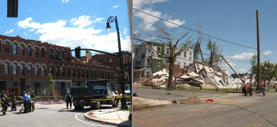 At left, damage in the Six Corners district. At right, the apartment building where one of the fatalities occurred. (Images by Robert Blackie)