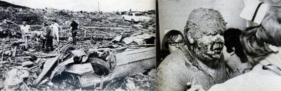 At left, view of devastation near the I-470, where the most intense damage in Topeka was documented (Image by Rich Clarkson). At right, Rick Douglas narrowly survived the tornado after being blown out from beneath an overpass and caked in mud and debris (Image by Delmar Schmidt).