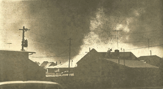 The Topeka tornado was clearly visible and fairly slow-moving, which allowed more than two dozen photographers to capture the storm from various vantage points. (Image from the Kansas State Historical Society)