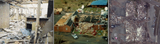 At left, the 1987 Saragosa, Texas, tornado killed 22 people in the Guadelupe Church during a graduation ceremony for young students. At center, the 1994 Piedmont, Alabama, tornado killed 20 people at the Goshen United Methodist Church during Palm Sunday services. At right, the 2011 Joplin tornado leveled and partially swept away the Greenbriar Nursing Home. Of the approximately 90 residents and nurses in the building, 21 died.
