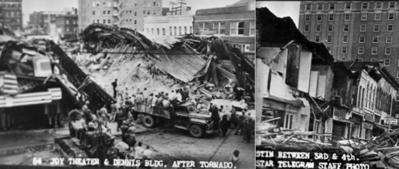 At left, ground view of the devastation on 5th Street.